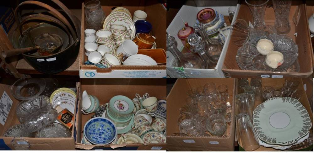 Lot 1013 - Seventeen boxes of assorted household ceramics and glass including blue and white wares, dinner...