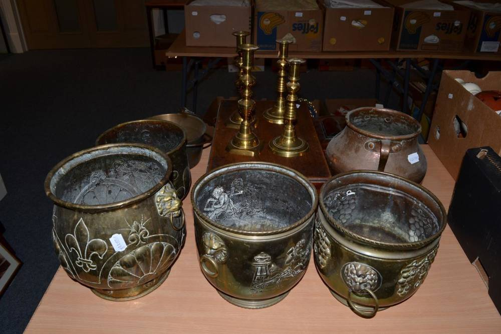 Lot 1025 - Four brass jardinieres, 19th century candlesticks, tea caddy, writing slope etc
