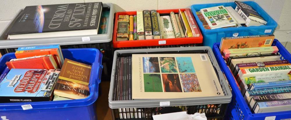 Lot 1033 - Six boxes of miscellaneous books and publications, including gardening, travel, religion,...