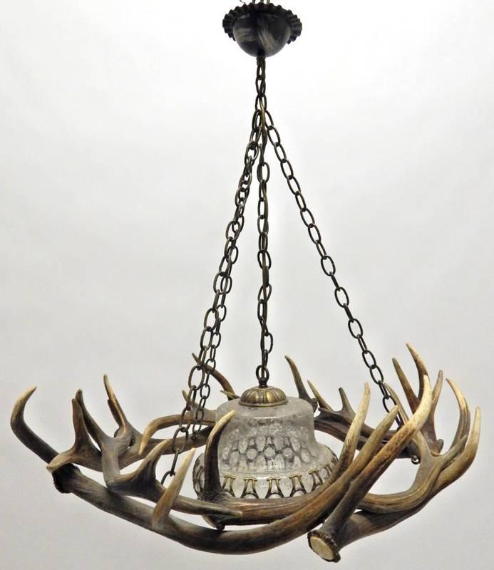 Lot 17 - Antler Furniture: Antler Chandelier, a Red Deer antler mounted chandelier, constructed from...