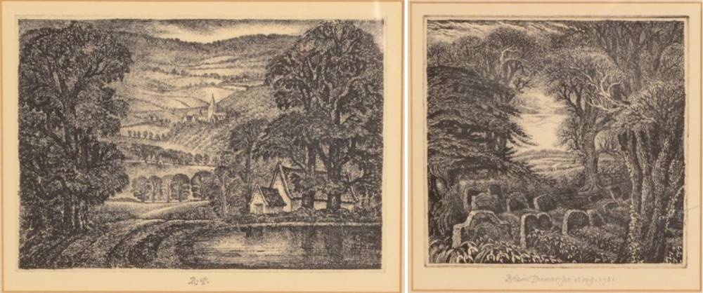 Lot 12 - Robin Tanner (1904-1988) ''Gray's Elegy'' Signed and dated 1980, etching together with two...