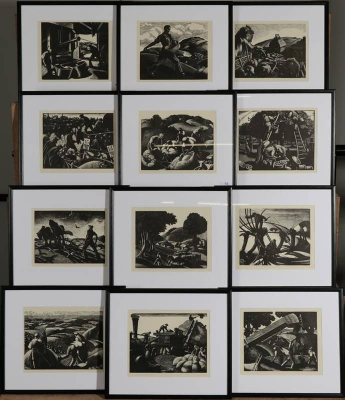Lot 14 - Claire Leighton (1898-1989) ''January Lambing'' Electrotype, together with eleven further...