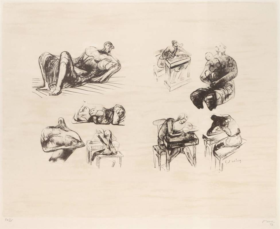 Lot 30 - Henry Moore OM, CH, RBA, RBS (1898-1986) ''Eight Sculptural Ideas Girl Writing'' Signed and...