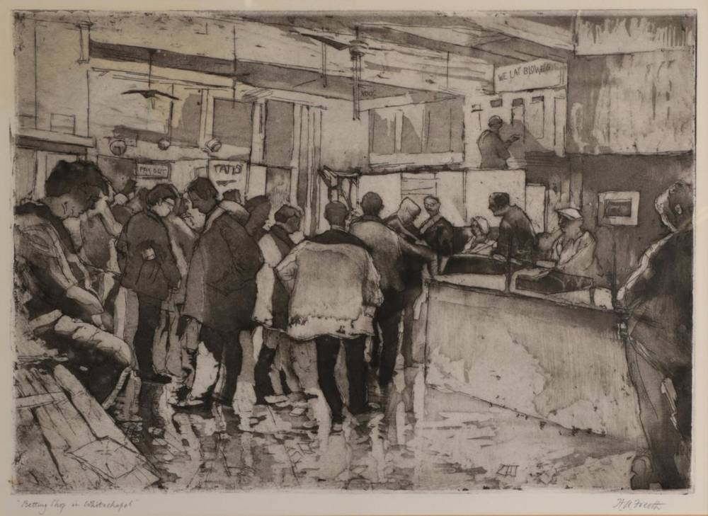 Lot 31 - Hubert Andrew Freeth RA (1912-1986) ''Betting Shop in Whitechapel'' Signed and inscribed,...