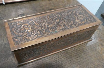 Lot 249 - A Keswick School of Industrial Arts Copper Hinged Rectangular Box, chased with roses and foliage to