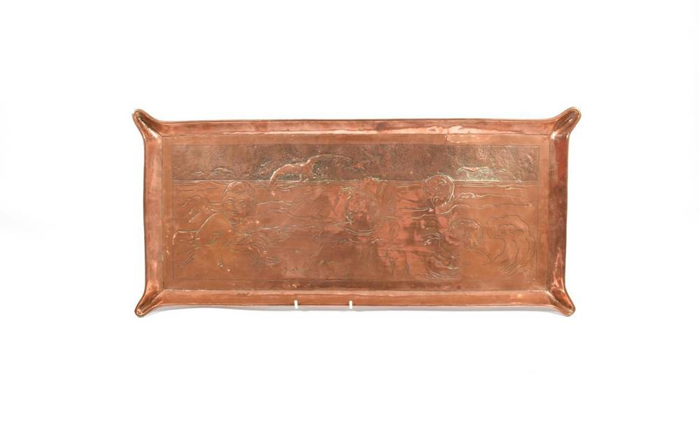 Lot 251 - An Arts & Crafts Rectangular Copper Tray, decorated with children playing in the sea with...