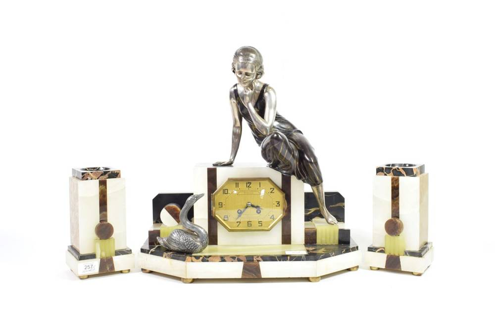 Lot 257 - Ugo Cipriani - Uriano (Italian, 1887-1960): A French Art Deco Patinated Spelter, Marble and...