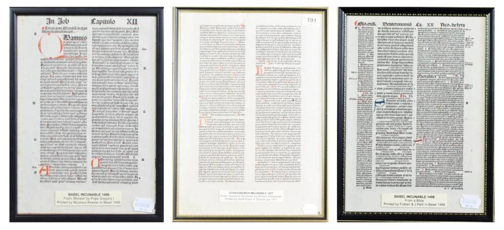 Lot 191 - Incunables Two Basel incunables - one 4to leaf from Gregory I, Moralia, 1496 and one 4to leaf...