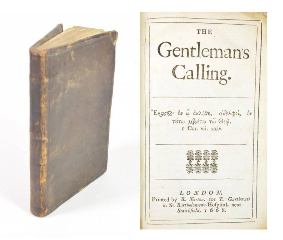 Lot 193 - Allestree, Richard (Attrib.) The Gentleman's Calling. Printed by R. Norton for T. Garthwait in...