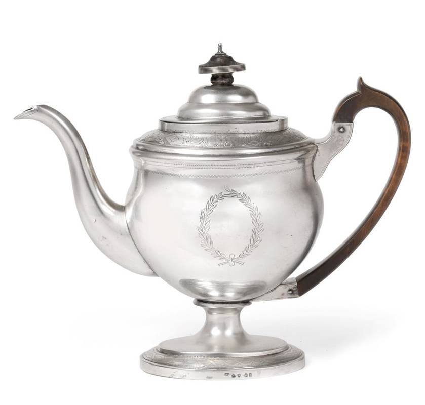 Lot 18 - A George III Silver Pedestal Coffee Pot, Solomon Hougham, London 1803, oval with engraved...
