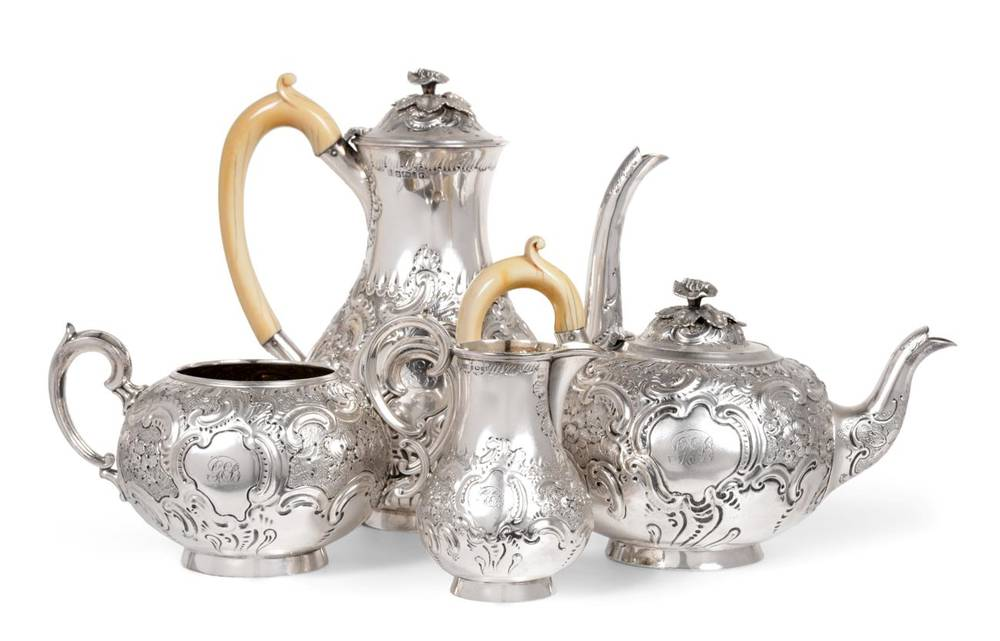 Lot 48 - A Matched George III and Victorian Silver Four Piece Tea and Coffee Service, the teapot,...