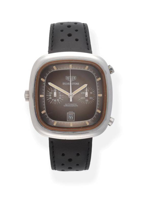 Lot 80 - A Rare Stainless Steel Automatic Calendar Chronograph Motor Racing Driver's Wristwatch, signed...