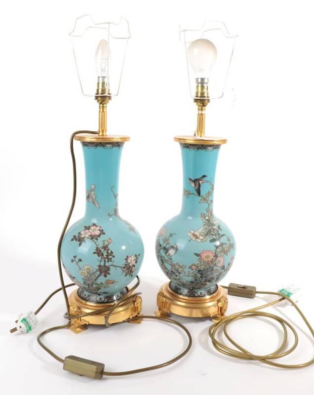 Lot 572 - ~ A Pair of Japanese Cloisonné Enamel Bottle Vases, Meiji period, decorated with birds amongst...