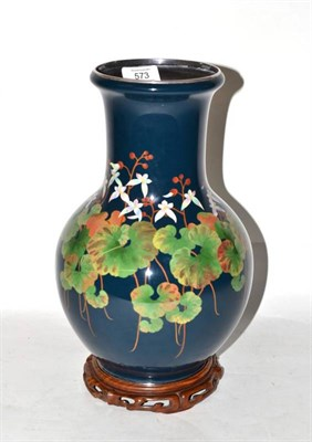 Lot 573 - A Japanese Cloisonné Enamel Vase, by the Ando Jubei Company, 20th century, of baluster form,...