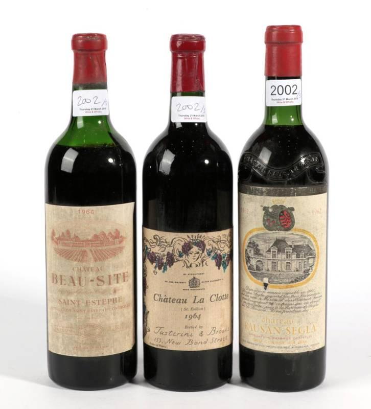 Lot 2002 - Chateau Rauzan Segla 1962 Margaux 1 bottle in, Chateau Beausite 1964 Saint Estephe 1 bottle...
