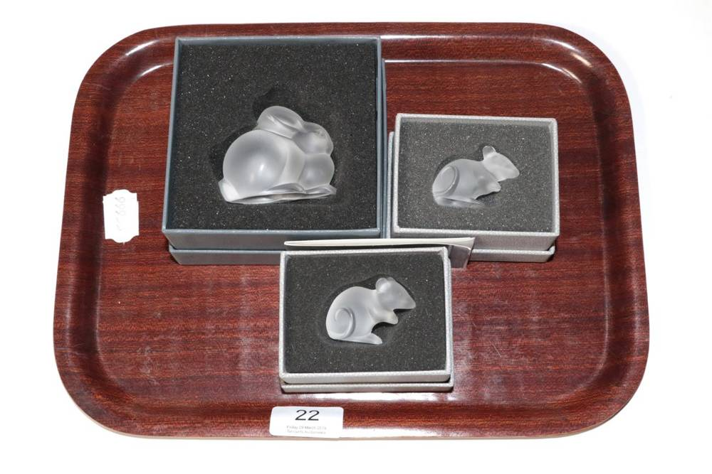 Lot 22 - Three Lalique glass models, two mice and a rabbit (all boxed)