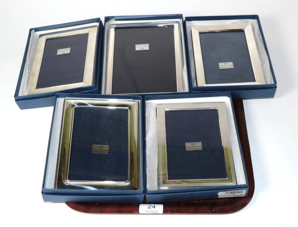 Lot 24 - Five modern rectangular silver photograph frames by Carr's Sheffield, all as new and boxed, the...