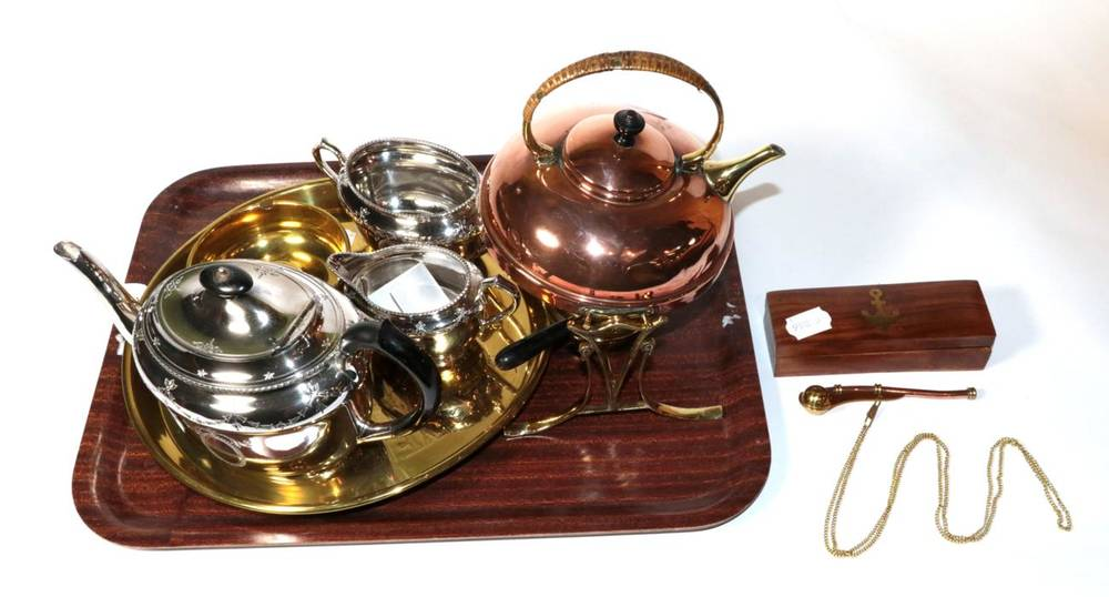 Lot 27 - A Bentley's Yorkshire Brewery ltd brass tray; a copper and brass spirit kettle; a burner and stand