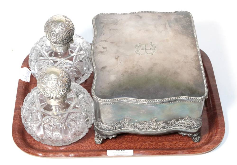Lot 43 - A pair of Edwardian silver mounted cut glass spherical scent bottles, Birmingham 1901; and an...