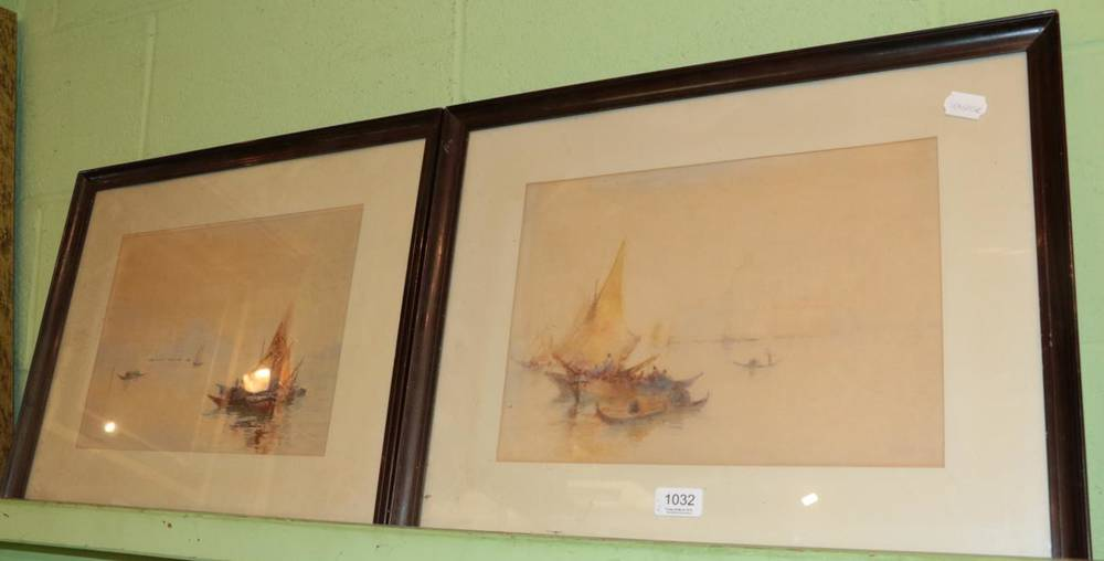 Lot 1032 - L Marden, Pair of Venetian scenes, watercolour, signed and dated 1923, 15cm by 35cm (2)