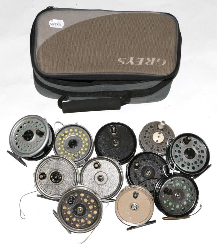 Lot 27 - A collection of ten fly reels, comprising: J.W. Young & Sons, five Condex, including one wide...