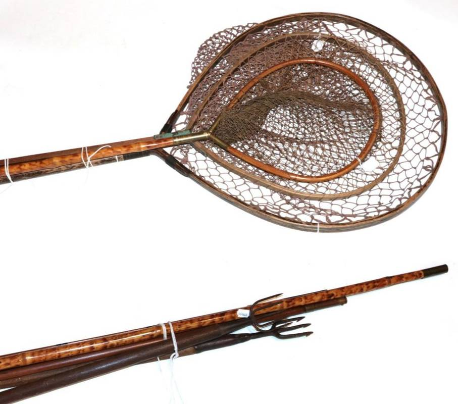 Lot 28 - A Farlows, ash, fixed head landing net; two others, one with bamboo shaft; two others, landing...