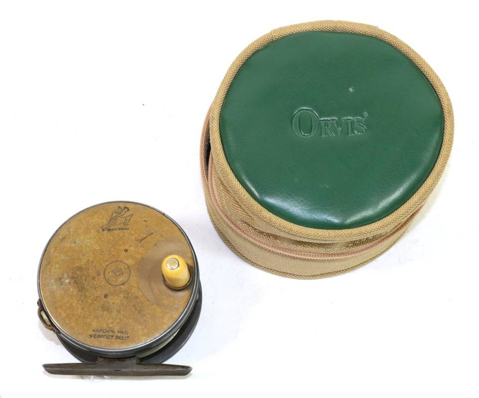 Lot 32 - A Hardy, ''The Perfect'', 3 1/4 in. brass-faced, alloy, wide drum trout fly reel, ivorine...