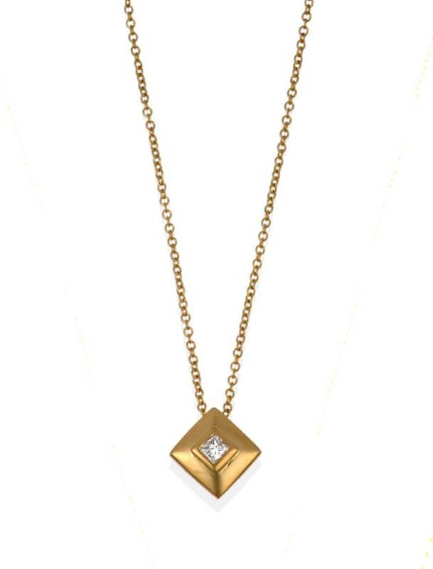 Lot 2010 - An 18 Carat Gold Diamond Pendant on Chain, a princess cut diamond in a yellow square mount...