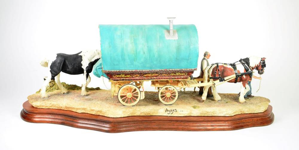 Lot 9 - Border Fine Arts 'Arriving at Appleby Fair', (Bow Top Wagon and Family), model No. B0402 by Ray...