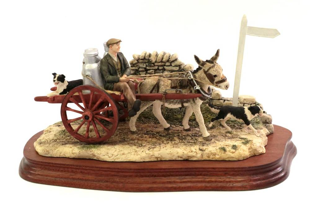 Lot 40 - Border Fine Arts 'Delivering the Milk' (Donkey Cart), model No. AG01 by Ray Ayres, limited...