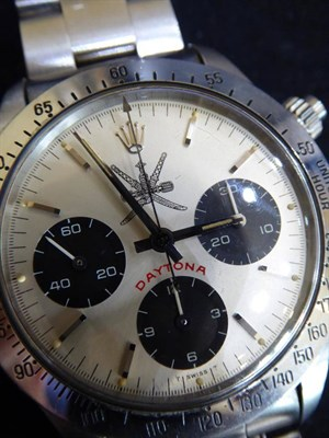 Lot 224 - A Fine and Rare Stainless Steel Chronograph Wristwatch with the White ''Khanjar'' National...