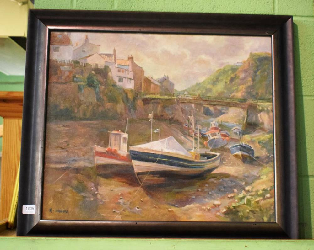 Lot 1005 - Michelle Saunders (20th century) Staithes, signed, oil on canvas, 50cm by 60cm