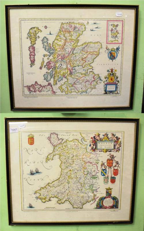 Lot 1047 - Maps, two 19th-century reproductions of Blaeu maps of Scotland and Wales, by John Bartholemew &...