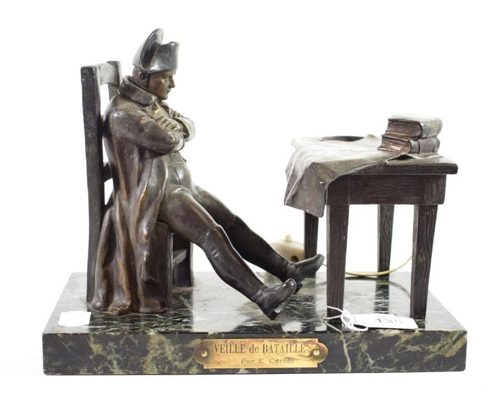 Lot 135 - After Emile Carlier: ''Veille de Bataille'': A Bronze Figure of Napoleon, sitting a desk, on a...