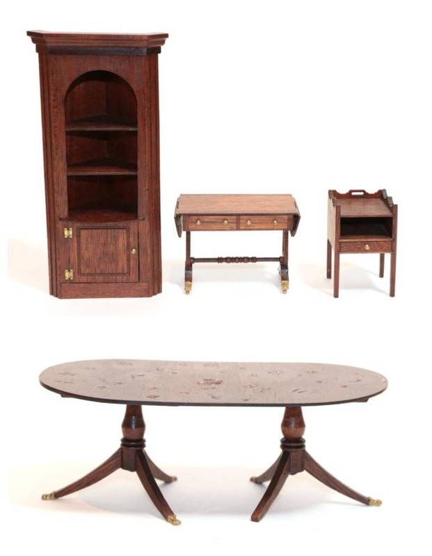 Lot 2012 - Four Pieces of Escutcheon Dolls House Furniture, comprising a twin pedestal dining table, open...