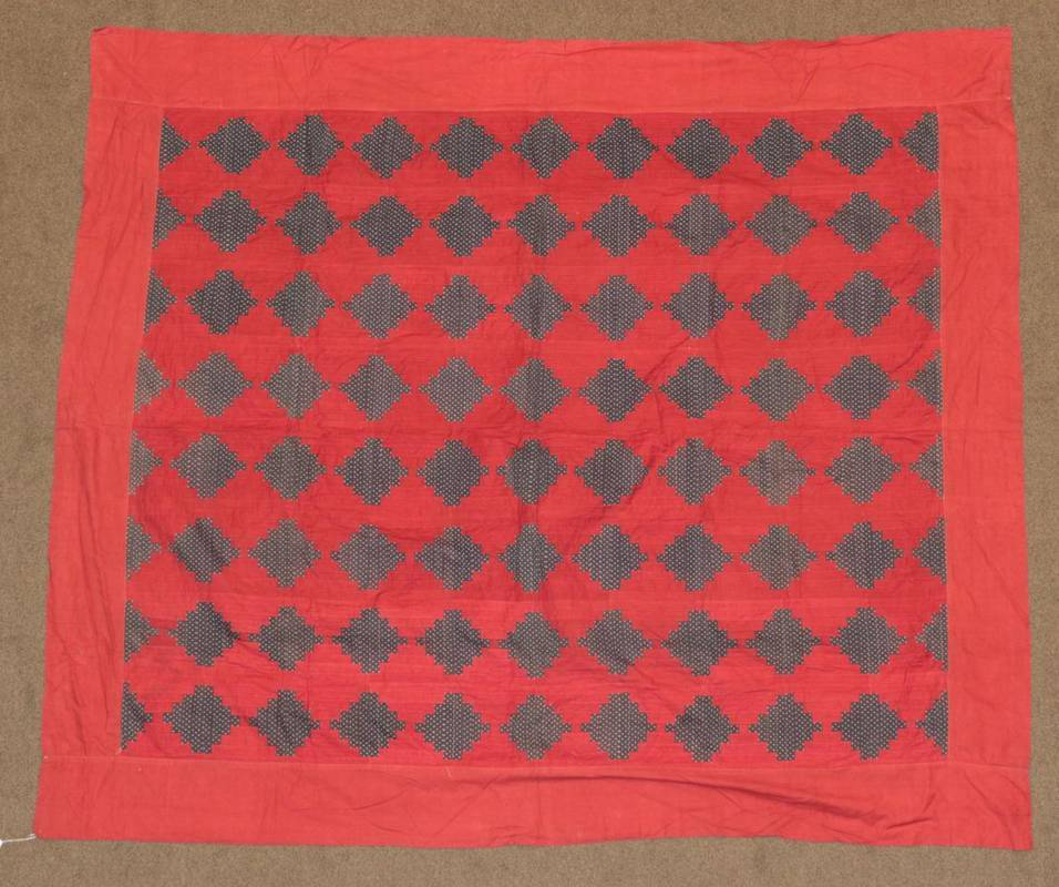 Lot 2019 - Late 19th Century Patchwork Bed Cover, worked on patches of turkey red cotton with blue and...