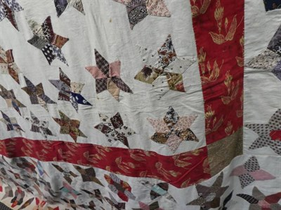 Lot 2021 - Mid-19th Century Patchwork Coverlet, with large central star comprising small hexagonal...