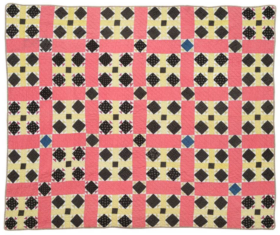 Lot 2035 - Late 19th Century/Early 20th Century American Civil War Patterned Quilt, worked in a grid and...