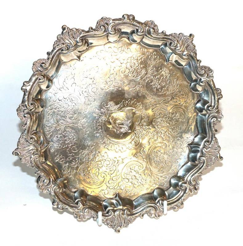 Lot 9 - A George III silver salver, maker's mark rubbed, London 1789, chased with foliage, the centre...