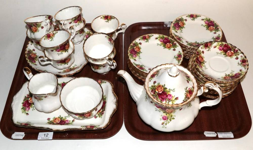 Lot 12 - A Royal Albert Old Country Roses tea service (some marked second quality)