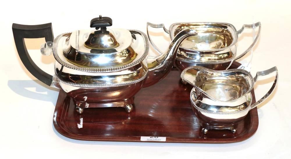 Lot 28 - A matched silver three piece tea service, S Blanckensee & Son, Birmingham 1924; and Sharman D...