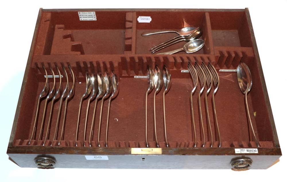 Lot 68 - A part service of silver Old English pattern flatware, Walker & Hall, Sheffield 1954/55,...
