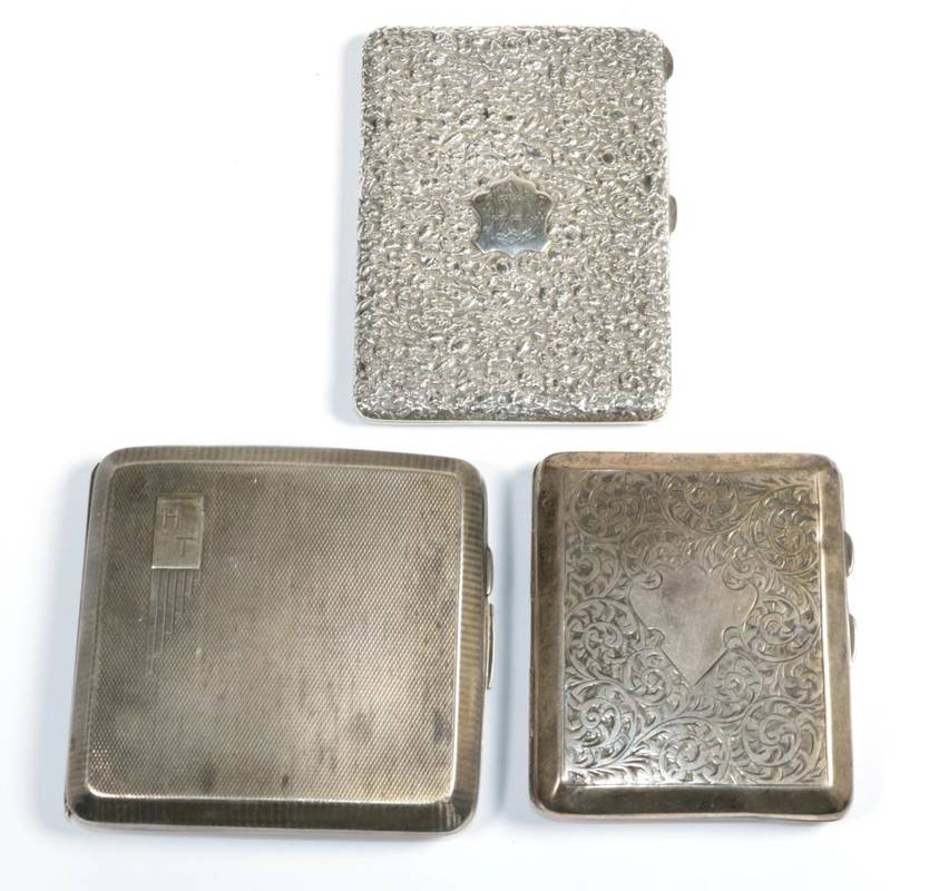 Lot 89 - A Victorian silver card case; together with two later silver cigarette cases