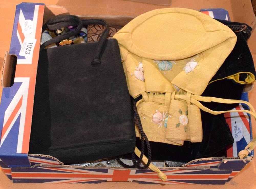 Lot 1023 - Assorted circa 1920s and later sequin, bead and other handbags (one box)