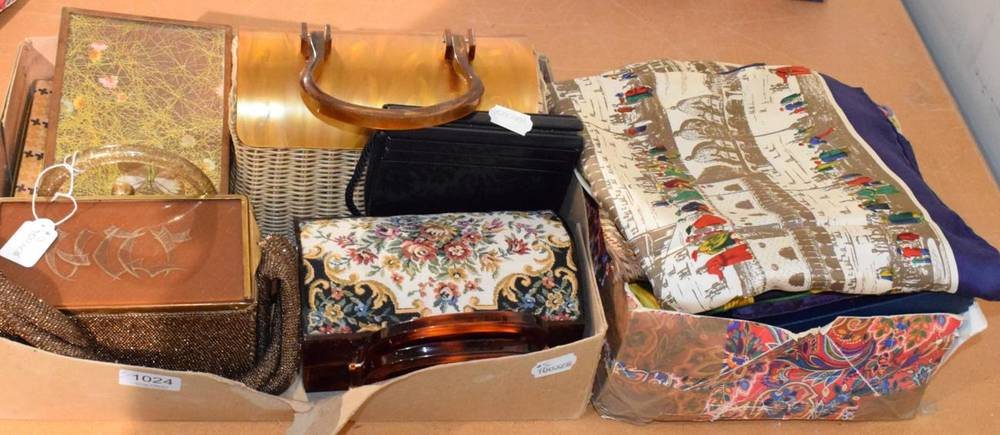 Lot 1024 - Assorted silk and other scarves including Liberty, Swarovski, P Cardin, Jacqmar, John Burrows,...