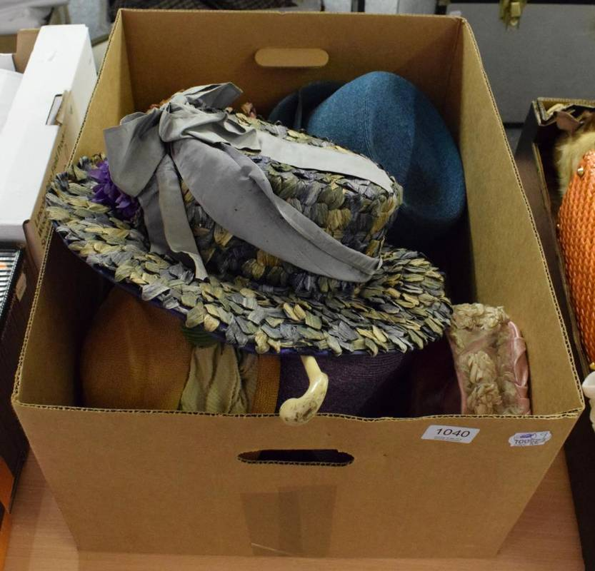 Lot 1040 - Assorted Circa 1920s and later hats including a pink straw cloche style hat with  velvet...