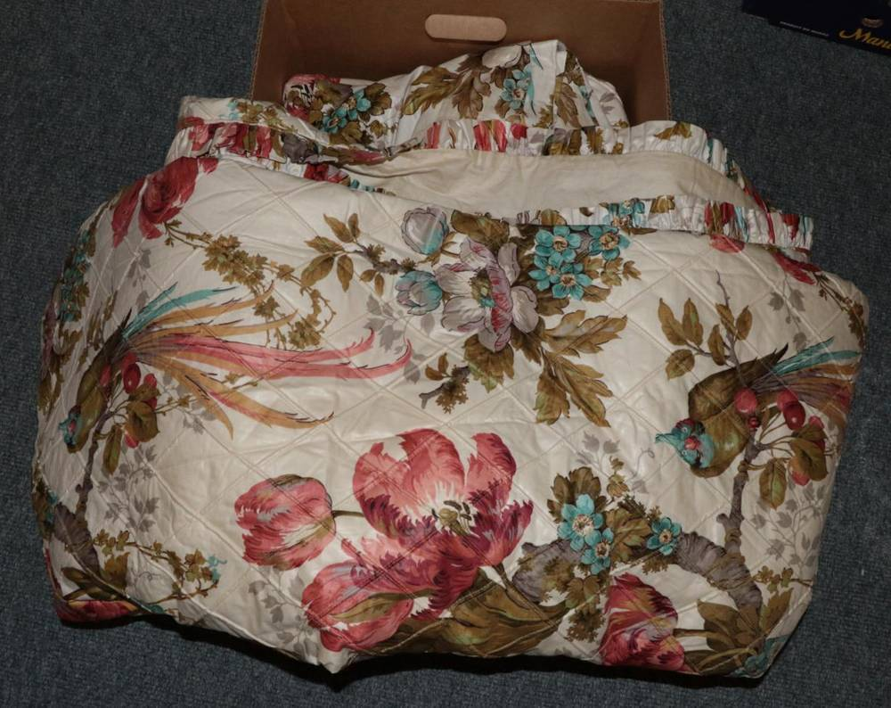 Lot 1044 - Pair of Arthur Sanderson Guadeloupe pattern glazed cotton short curtains, (114cm wide by 137cm...