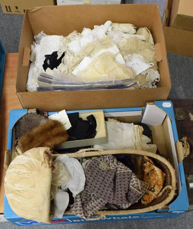 Lot 1047 - Dolls wicker cradle, various 1930s and later bead bags, white cotton sleeves, modesty panels,...