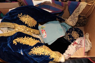 Lot 1075 - European blue velvet jacket with gold embroidery and coral type beads, similar style hat with...