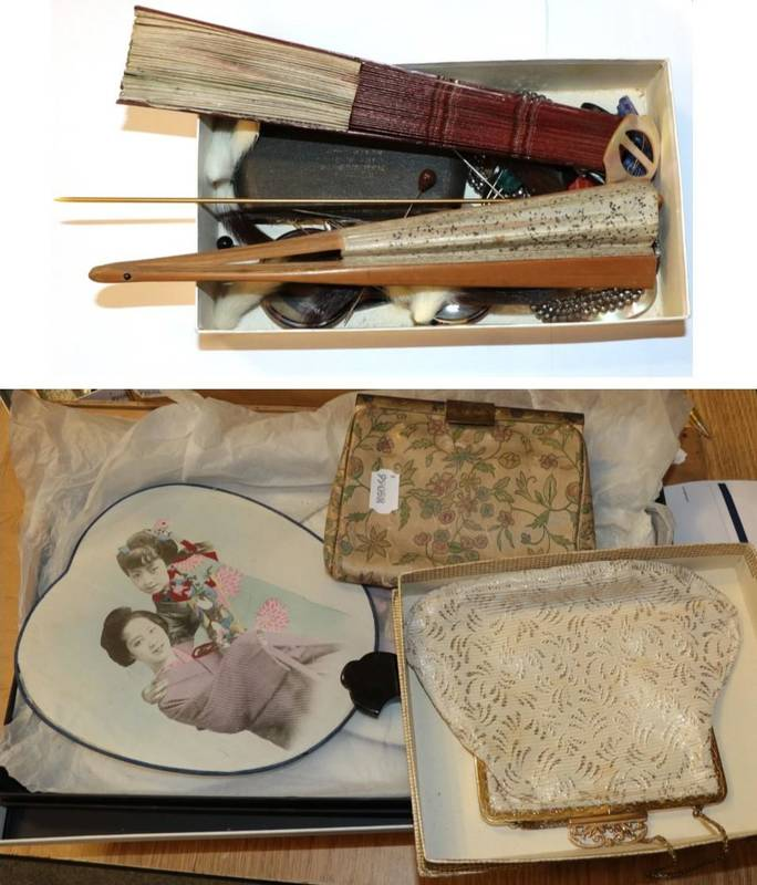 Lot 1089 - 19th century and later assorted decorative costume accessories, including Derfield Burlington...